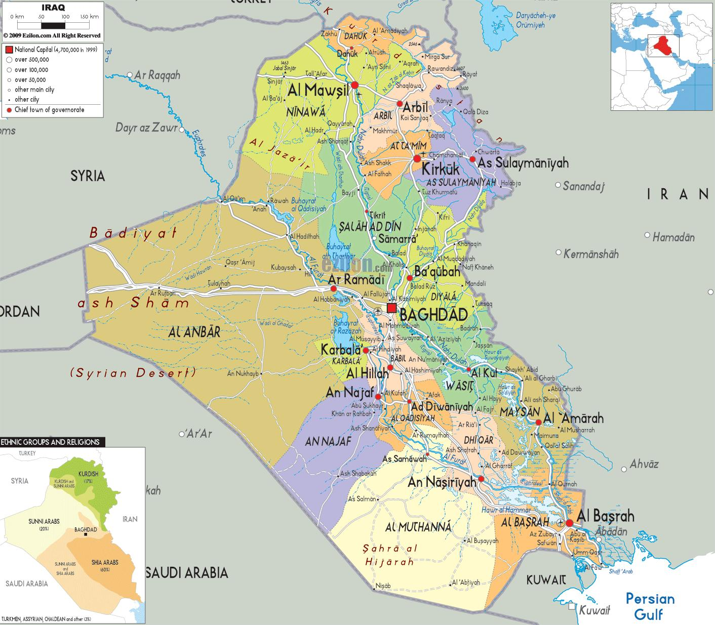 Iraq map - Iraq cities map (Western Asia - Asia)