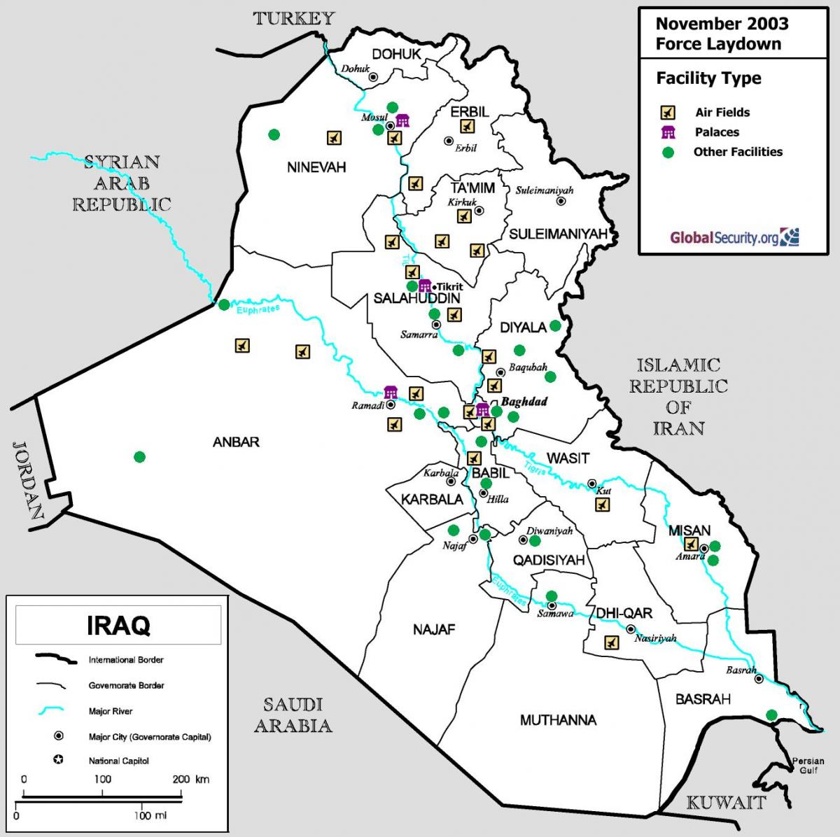 Map of Iraq airports