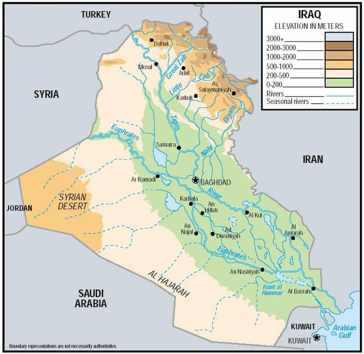 Map of Iraq elevation