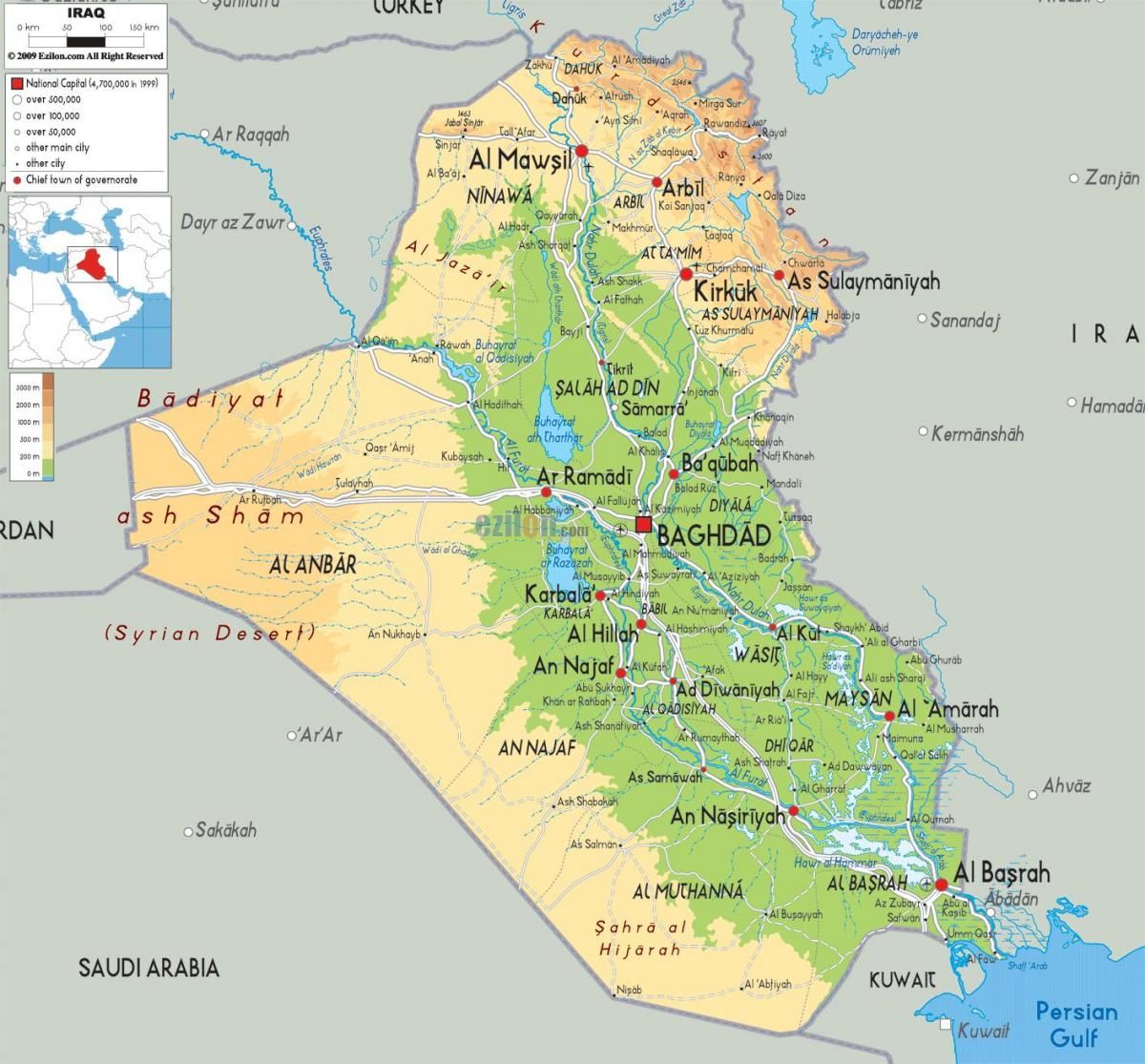 Map of Iraq geography