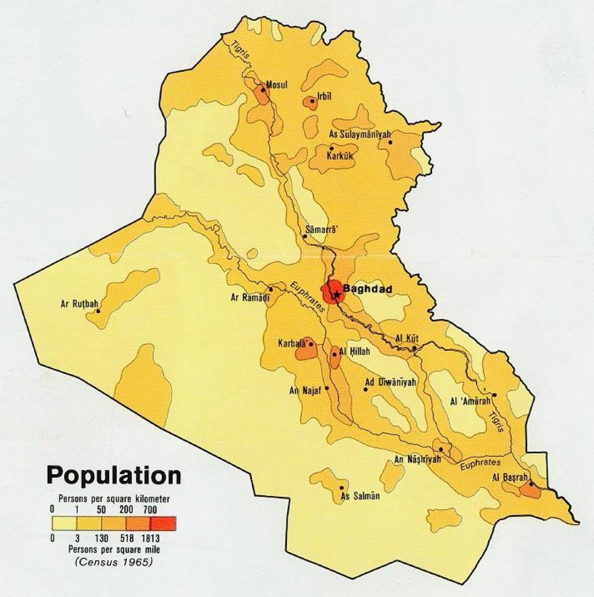 Map of Iraq population