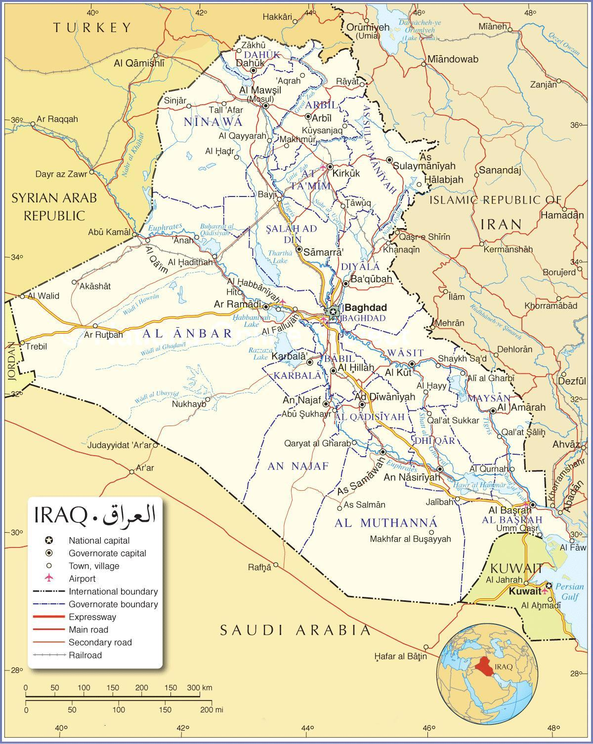Map of Iraq roads